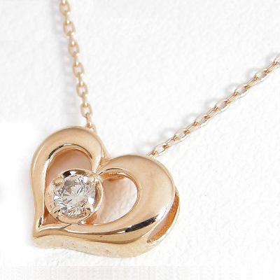 【5%OFFクーポン】3/31迄 ダイヤモンド ネックレス 一粒 ハート ピンクゴールド ダイヤネックレス