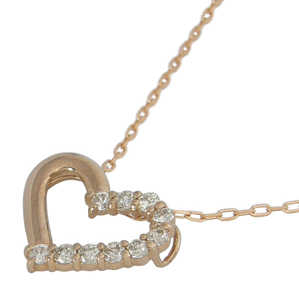 ダイヤモンド ネックレス K18 0.1カラット 0.1ct ハート ダイヤネックレス ハート ダイヤモンドネックレス 結婚記念日 結婚10周年
