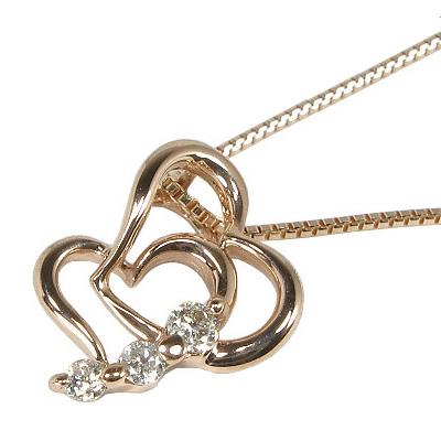 【10%OFF】お買い物マラソンダイヤモンド ネックレス K10ピンクゴールド ダブルオープンハート ダイヤネックレス