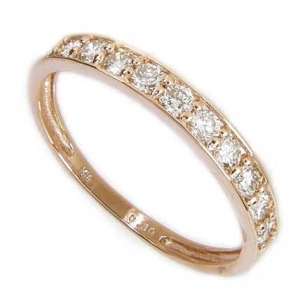 【5%OFFクーポン】3/31迄 ダイヤ エタニティ 【鑑別付】 エタニティリング ダイヤモンド 0.3ct K18 ピンクゴールド K18PG 18金 ハーフエタニティ ダイヤ リング 10石 ダイヤリング 指輪 結婚10周年 結婚 10年 結婚記念日 結婚指輪