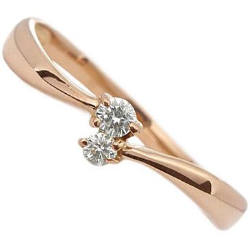 【10%OFFクーポン】お買い物マラソン K18PG:1粒ダイヤが2石のダイヤリング:Total:0.05ct/K18ピンクゴールド