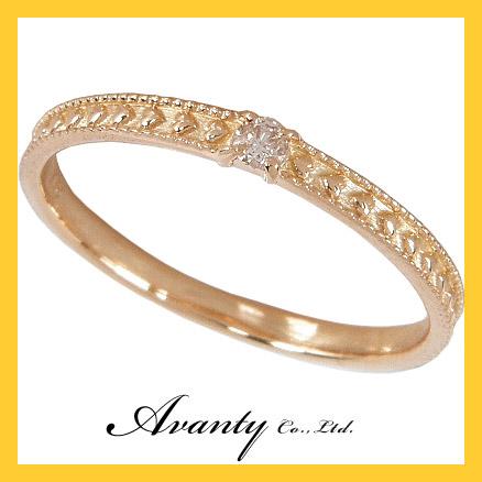 【Avanty】ハートリング ダイヤモンド0.03ct「ハートリング」【K18 K18PG K18ピンクゴールド】