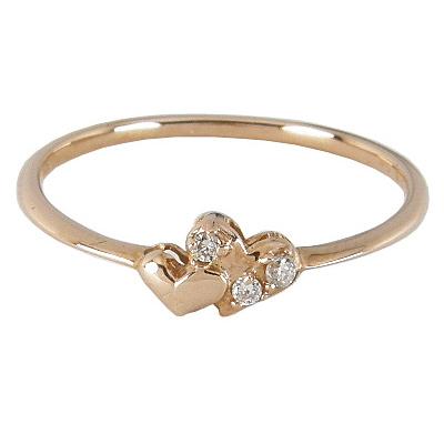 2つのハートが寄り添う ダブルハートリング ダイヤモンド0.026ct K18ゴールド K18PG K18ピンクゴールド K18 18金 ゴールド ハート リング ハートリング 指輪 6号7号8号9号10号11号12号13号14号15号