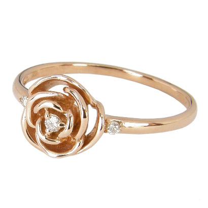 【10%OFF】お買い物マラソン【Avanty】薔薇(バラ)ダイヤリング:ダイヤ0.03ct:K18ピンクゴールド:K18PG