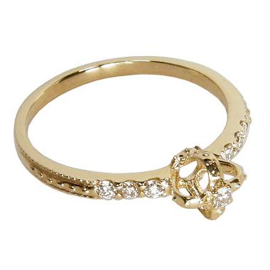 【10%OFF】お買い物マラソン【Avanty】黄金の王冠クラウンダイヤリング:0.1ct:K18イエローゴールド
