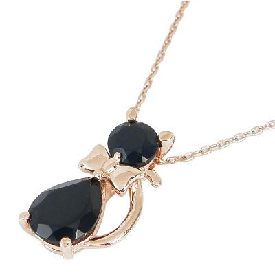 猫 ネックレス ネコ ネックレス ねこ ネックレス 8月誕生石 オニキス K10PG K10ピンクゴールド 黒猫 クロネコ ネコ ねこ 猫 ネックレス ネコネックレス
