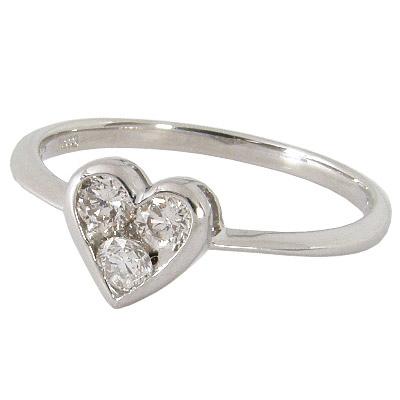 【10%OFF】お買い物マラソン【サイズ限定 12号】【Avanty】プラチナ900:Pt900:ダイヤ0.3カラット:0.3ct:スリーストーンダイヤモンド:プラチナハートリング