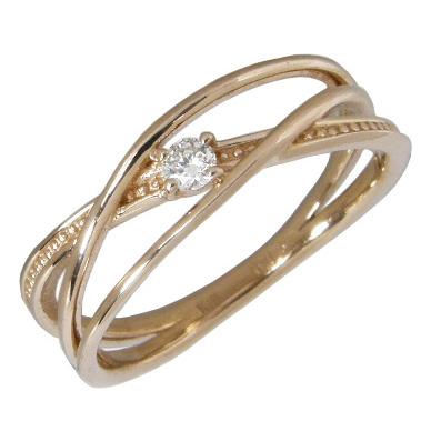 【10%OFF】お買い物マラソンピンキーリング K18ピンクゴールド K18PG 指輪 一粒 ダイヤモンド0.03ct 3連クロスピンキーリング