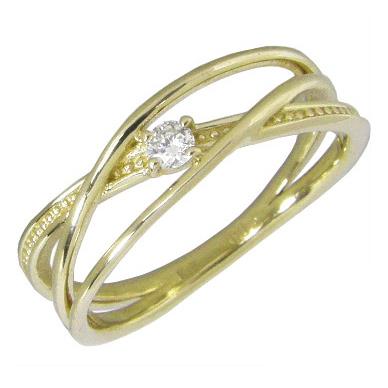 【10%OFF】お買い物マラソンピンキーリング K18イエローゴールド K18YG 指輪 一粒 ダイヤモンド0.03ct 3連クロスピンキーリング
