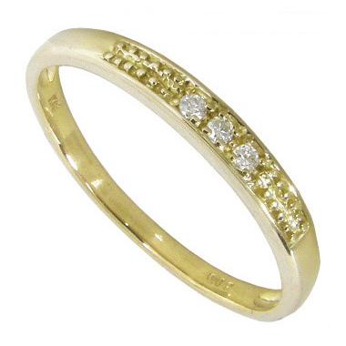 【10%OFF】お買い物マラソンK18イエローゴールド ピンキーリング 指輪 スリーストーン ダイヤモンド0.02ct K18YG マイナス2号(-2号)~7.5号