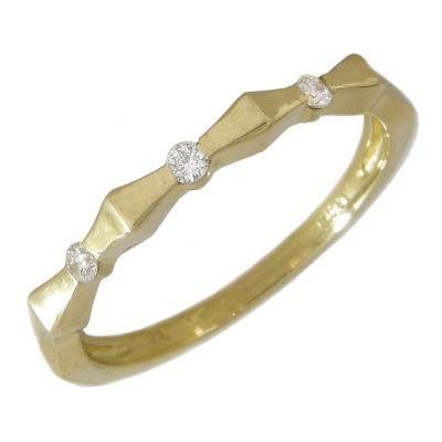 【10%OFF】お買い物マラソンピンキーリング レディース指輪 K18 ゴールド リボンピンキーリング リボンリング K18イエローゴールド K18YG ダイヤモンド0.04カラット 0.04ct