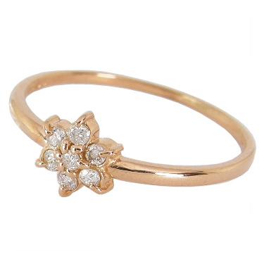 お花 フラワー ダイヤモンド ピンキーリング ダイヤモンド0.07ct K10PG K10ピンクゴールド 0号 1号 2号 3号 4号 5号 6号 7号 K10 ゴールド 10金 ピンキーリング 指輪