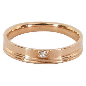 ピンキーリング ピンクゴールド ダイヤモンド 0.01ct スリットライン K18 ピンクゴールド K18PG 18金 一粒 ダイヤ ピンキー リング 指輪 無垢仕上 シンプル ダイヤリング 記念日