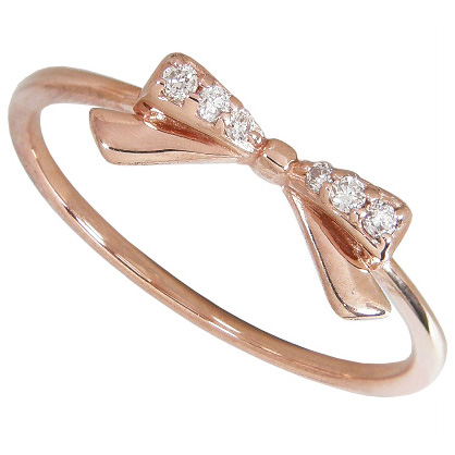 ダイヤモンド リボンリング K10ピンクゴールド K10PG 6号7号8号9号10号11号12号13号14号15号【ゴールド】【ダイヤモンド】【K10】【10金】【リボン】【リング】【指輪】【リボンリング】