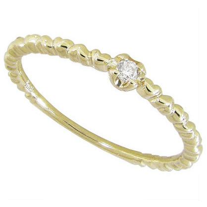 ピンキーリング【K18】ダイヤモンド ハート ピンキーリング K18YG K18イエローゴールド 0号 1号 2号 3号 4号 5号 6号 7号 ゴールド 18金 ハートリング ピンキーリング 指輪