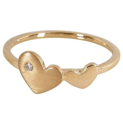 K18PG K18ピンクゴールド ハート ピンキーリング ダイヤモンド0.01ct 3号 4号 5号 6号 7号【ピンキーリング】【ハート】【ハートリング】【ゴールド】【K18】【18金】