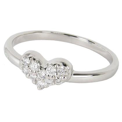 ピンキーリング プラチナ パヴェ リング ハートリング パヴェダイヤ(ダイヤモンド10石 0.11カラット 0.11ct)プラチナ900 Pt900 0号1号2号3号4号5号6号7号 結婚10周年 結婚10年目 結婚記念日