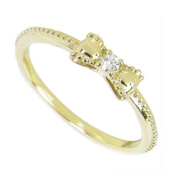 リボンピンキーリング:ダイヤモンド0.02ct:K10イエローゴールドK10YGピンキーリング0号-7.5号(0号/1号/2号/3号/4号/5号/6号/7号)