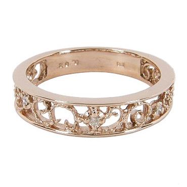 ピンキーリング ピンクゴールド 幸福を導く 蔦(ツタ)のピンキーリング ダイヤモンド 0.02ct K10 ピンクゴールド K10PG 10金 ダイヤリング ピンキー リング ダイヤ 指輪 透かし模様 レディース プレゼント