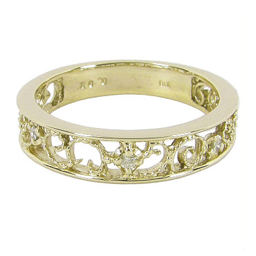 【5%OFFクーポン】3/31迄 ピンキーリング イエローゴールド 幸福を導く 蔦(ツタ)のピンキーリング ダイヤモンド 0.02ct K10 イエローゴールド K10YG 10金 ダイヤリング ピンキー リング ダイヤ 指輪 透かし模様 プレゼント 幸せ 誕生日