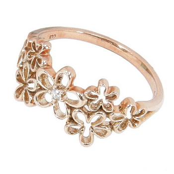 7つのお花:フラワーピンキーリング:ダイヤモンド0.008ct:K10ピンクゴールドK10PGピンキーリング0号-7.5号(0号/1号/2号/3号/4号/5号/6号/7号)