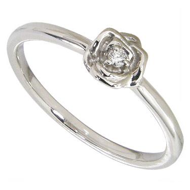 薔薇(バラ)のピンキーリング プラチナ ダイヤモンド0.01ct プラチナ900 Pt900 0号-7.5号(0号/1号/2号/3号/4号/5号/6号/7号)