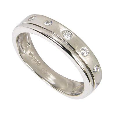 ピンキーリング プラチナ 2連フレームリング ダイヤモンド 5石 0.05ct プラチナ900 Pt900 0号-7.5号(0号/1号/2号/3号/4号/5号/6号/7号)