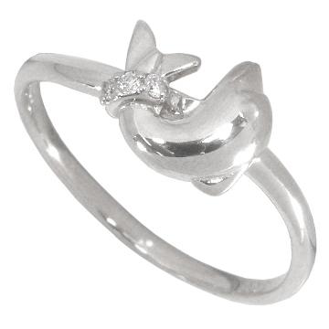 【10%OFF】お買い物マラソン【Avanty】イルカのダイヤリング(ドルフィンダイヤリング)0.02ct:K10WG:K10ホワイトゴールド