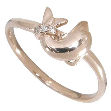 【5%OFFクーポン】3/31迄 イルカのダイヤリング(ドルフィンダイヤリング)0.02ct:K10PG:K10ピンクゴールド