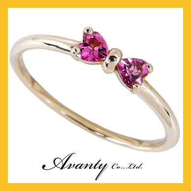 【Avanty】K10YG:ピンクトルマリン【リボンリング】K10イエローゴールド/ピンクトルマリンのリボンリング