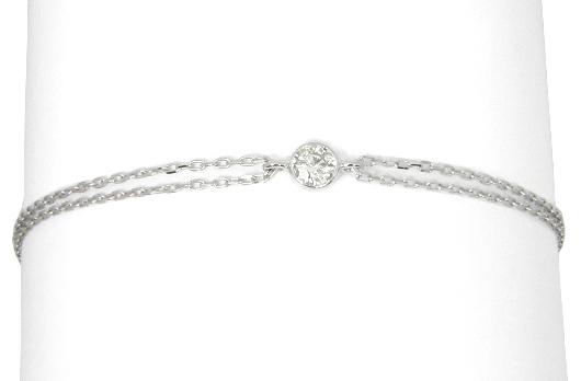 【5%OFFクーポン】3/31迄 ブレスレット ダイヤモンド 0.2ct 一粒 ダイヤモンド ブレスレット K10 ホワイトゴールド K10WG 10金 レディース レディースブレスレット ダイヤ ダイヤブレスレット 2連 チェーン
