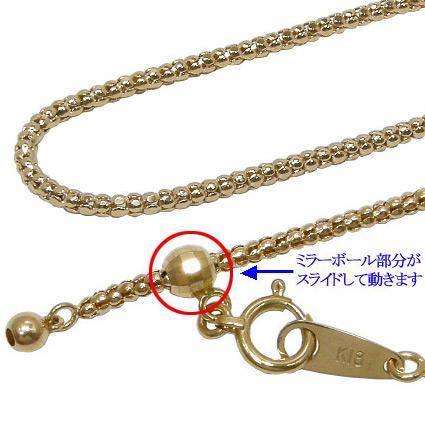 K18YG:60cm/1.6mm/5g 長さが変わるボンバータチェーンネックレス