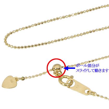 【10%OFF】お買い物マラソン【Avanty】K18YG:45cm/0.8mm/1.6g 長さが変わるカットボールチェーンネックレス