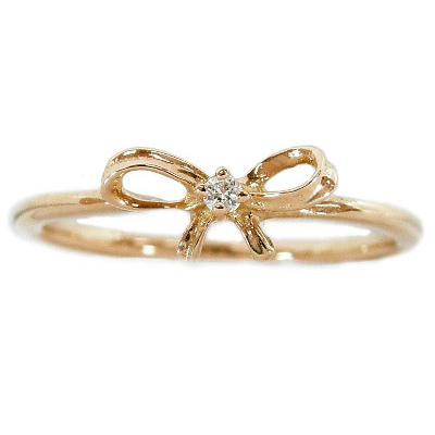 【10%OFF】お買い物マラソンK18ゴールド リボンピンキーリング リボンリング 指輪 ダイヤモンド0.01ct アミュレットリング K18ピンクゴールド K18PG