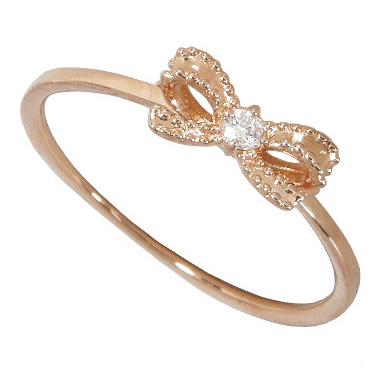【10%OFF】お買い物マラソンK18ピンクゴールド リボンリング ダイヤモンド0.03ct アミュレットリング K18PG