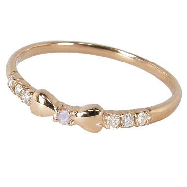 リボンピンキーリング(1号/2号/3号/4号/5号/6号/7号-15.5号)ダイヤモンド+6月誕生石ブルームーンストーン:K10ピンクゴールド/K10PG(リボンピンキーリング):