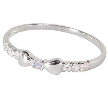リボンピンキーリング(1号/2号/3号/4号/5号/6号/7号-15.5号)ダイヤモンド+6月誕生石ブルームーンストーン:K10ホワイトゴールド/K10WG(リボンピンキーリング):