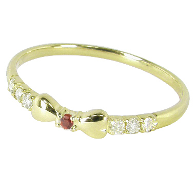 リボンピンキーリング(1号/2号/3号/4号/5号/6号/7号-15.5号)ダイヤモンド+1月誕生石ガーネット:K10イエローゴールド/K10YG(リボンピンキーリング):
