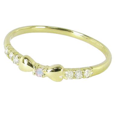 リボンピンキーリング(1号/2号/3号/4号/5号/6号/7号-15.5号)ダイヤモンド+6月誕生石ブルームーンストーン:K10イエローゴールド/K10YG(リボンピンキーリング):