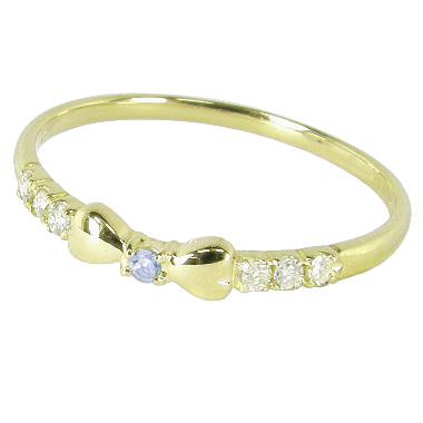 リボンピンキーリング(1号/2号/3号/4号/5号/6号/7号-15.5号)ダイヤモンド+11月誕生石ブルートパーズ:K10イエローゴールド/K10YG(リボンピンキーリング):