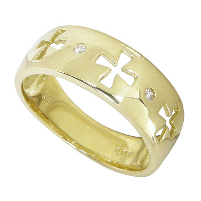 【5%OFFクーポン】5/24迄 (K18イエローゴールド:K18YG:ダイヤモンド0.02ct)幅広クロスダイヤリング