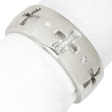 (K18ホワイトゴールド:K18WG:ダイヤモンド0.02ct)幅広クロスダイヤリング