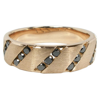 【5%OFFクーポン】5/24迄 ブラックダイヤモンドリング0.32ct:K10PG:K10ピンクゴールド