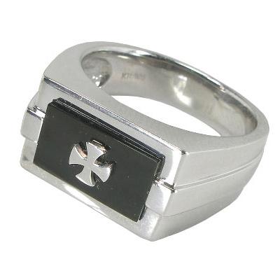 印台:K10WG:K10ホワイトゴールドクロスデザインリング:黒蝶貝