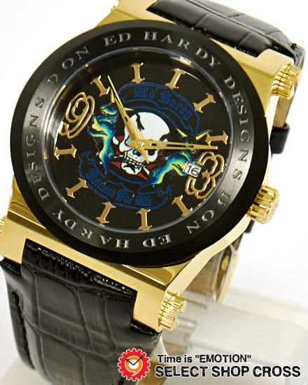 エドハーディー ad-gd ADMIRAL Ed-Hardy レディース 腕時計 ブランド ブラック 黒×ゴールド