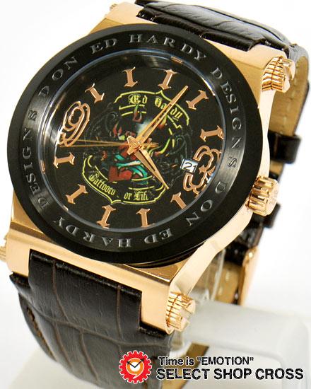 0f1d2858fa エドハーディー ad-rg ADMIRAL Ed-Hardy レディース 腕時計 ブランド ブラウン×ブラック 黒×ゴールド  【着後レビューを書いて1000円OFFクーポンGET】