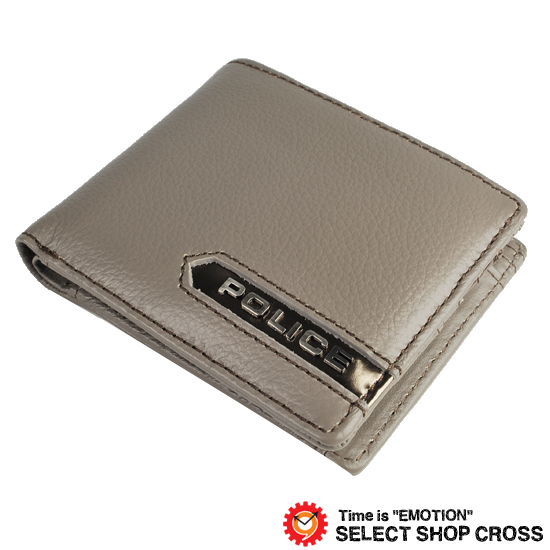 ポリス POLICE METALLIC メタリック メンズ 二つ折り財布/ミニウォレット シュリンクレザー(本革/牛革)PA-56900-60 グレー