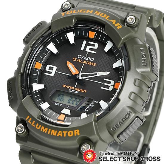 c4fb4241f9 CASIOカシオSPORTSスポーツメンズ腕時計アナデジタフソーラーAQ-S810W-3Aカーキ海外