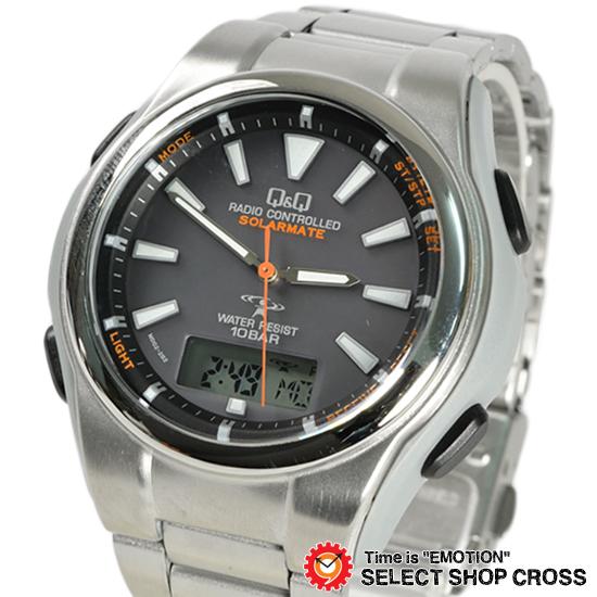 シチズン Q&Q 腕時計 電波時計 アナデジ 5局電波ソーラー MD02-202 ブラック 【あす楽】