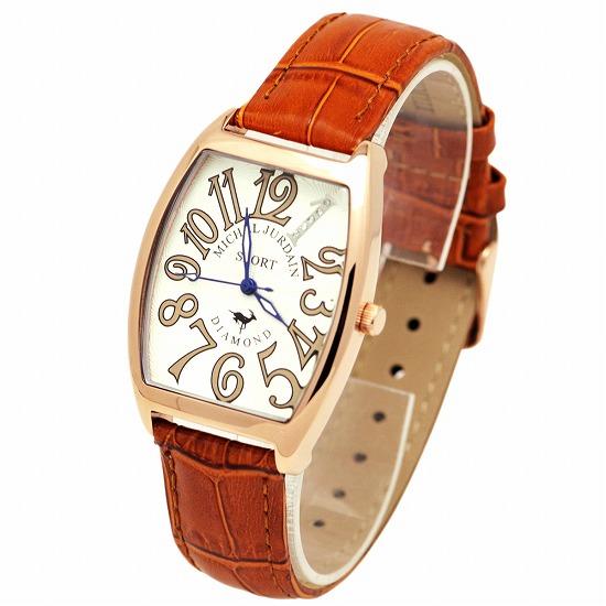 MICHEL JURDAIN SPORT ミッシェル ジョルダンスポーツ メンズ 腕時計 ダイヤモンド入 トノー型 SG-1100-3 ホワイト×ブラウンレザーベルト 【着後レビューを書いて1000円OFFクーポンGET】